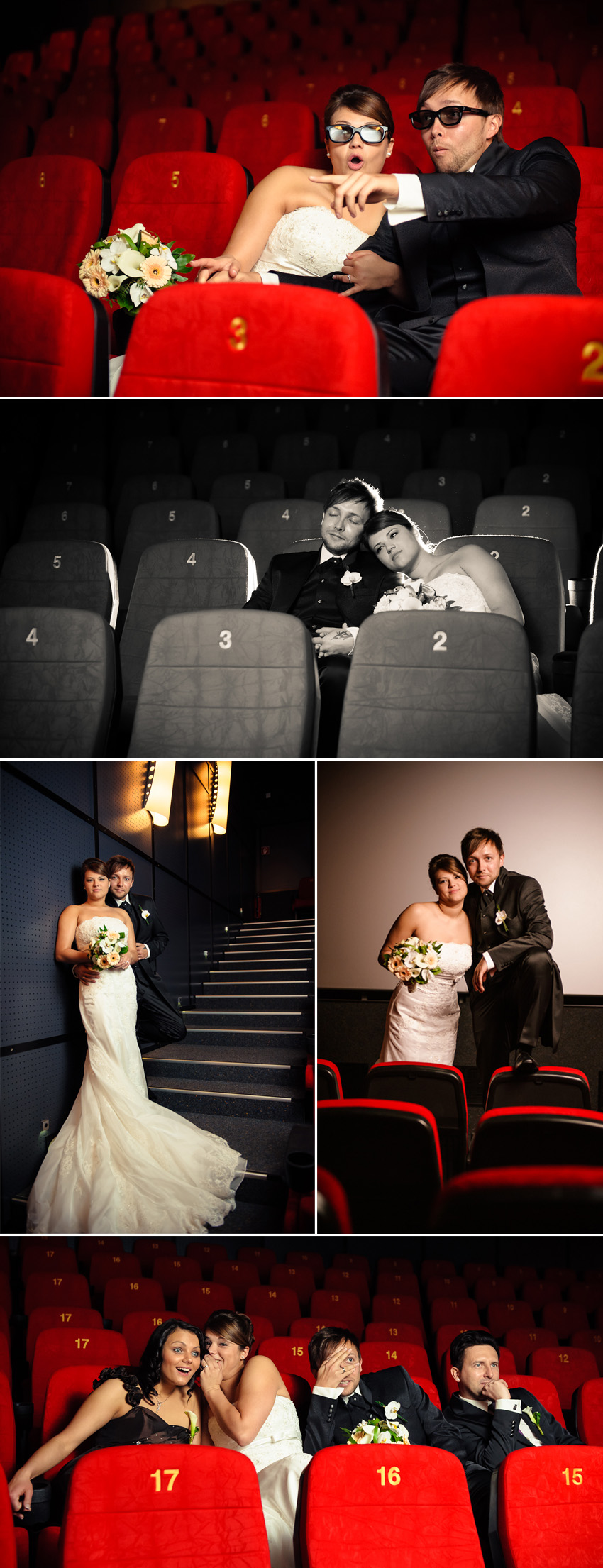 Hochzeitsfoto im Kino Brautpaarshooting
